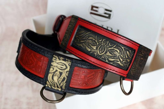 Black and red handmade leather dog collars by Workshop Sauri