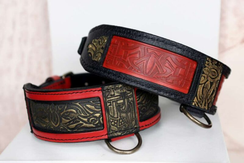 Black and red leather dog collars - SHANTI by Workshop Sauri