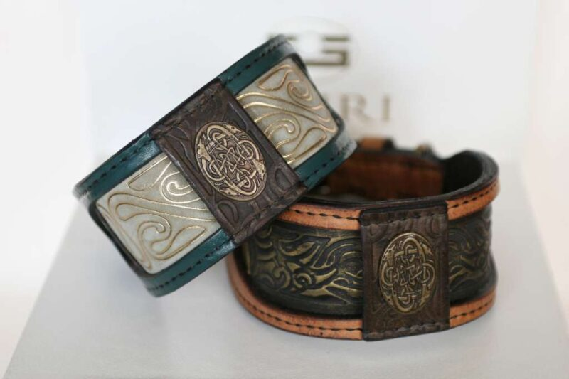 Elegant greyhound dog collars handmade by Workshop Sauri