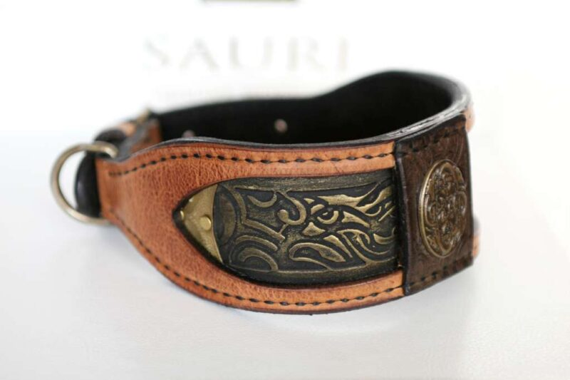 Elegant leather dog collar handmade by Workshop Sauri