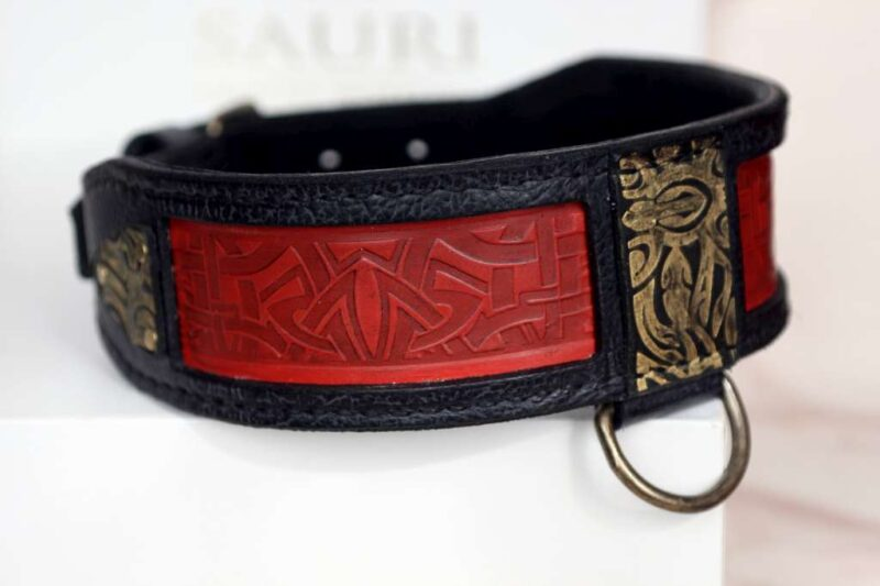 Red leather embossing - BLACK SHANTI dog collar handcrafted by Workshop Sauri