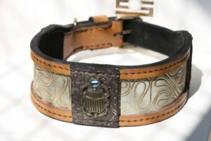 Designer dog collar Khepri handmade by Workshop Sauri