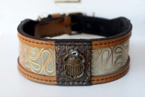 Designer dog collar scarab handmade by Workshop Sauri