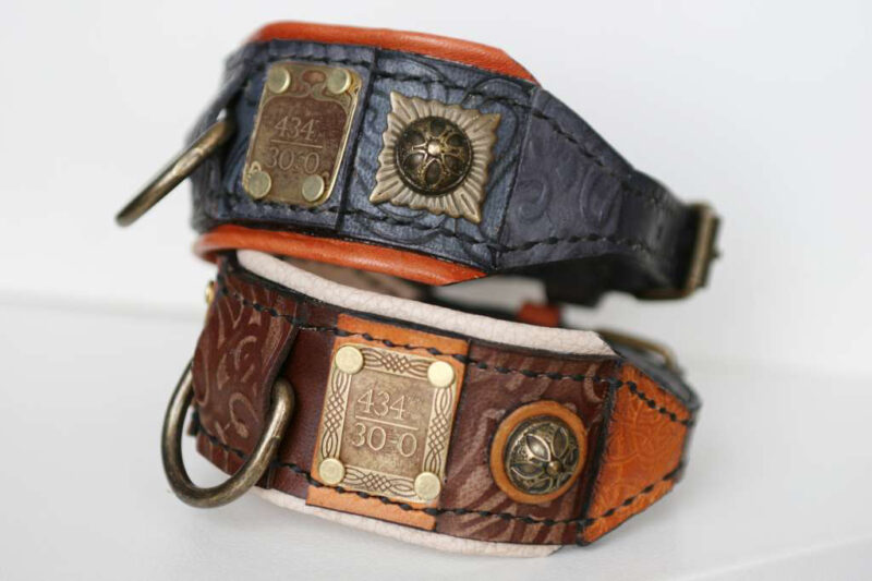 Dog collars with unique ID tags by Workshop Sauri