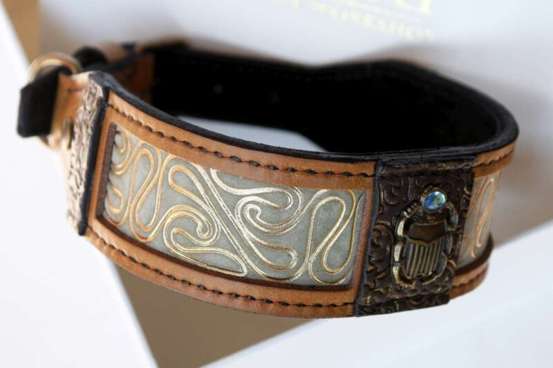 Handmade designer dog collar Khepri by Workshop Sauri