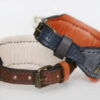 Handmade leather collars with ID tags by Workshop Sauri