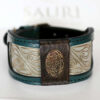 Hiranya green leather dog collar handmade by Workshop Sauri