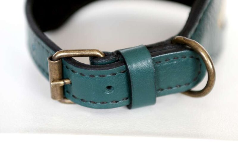Hiranya green leather dog collar buckle by Workshop Sauri