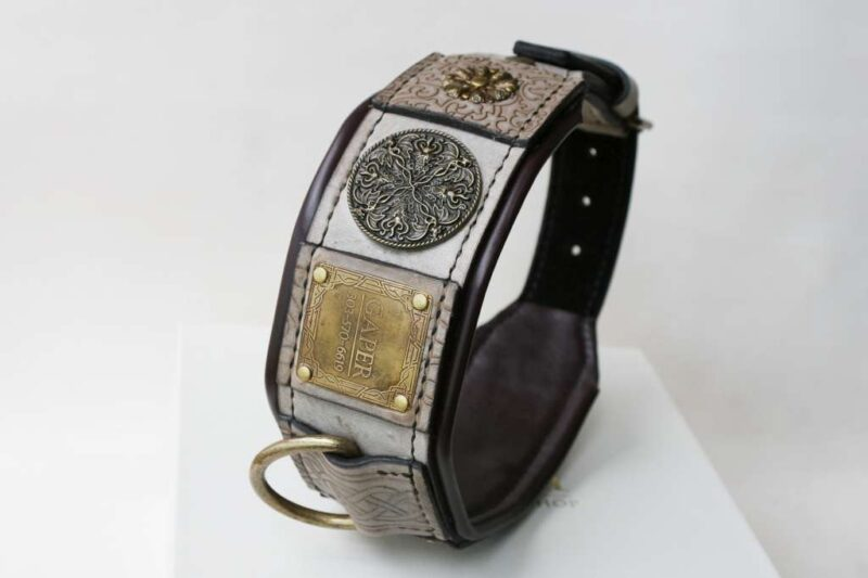 Leather dog collar with nameplate by Workshop Sauri