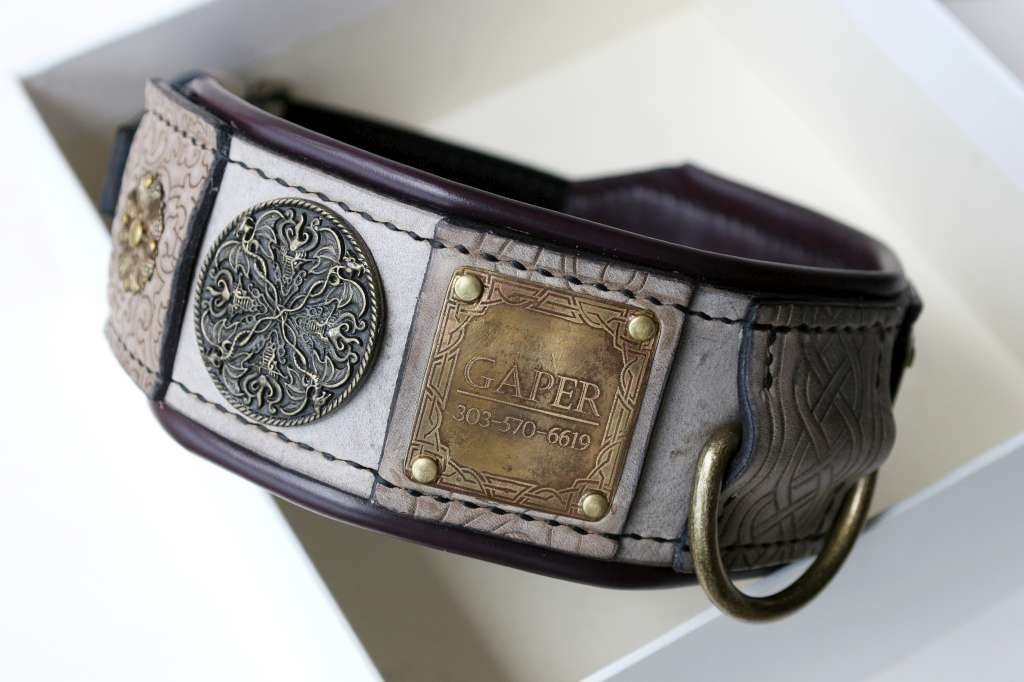 Leather dog collar with nameplate embellishments handmade by Workshop Sauri