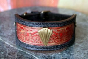 Sighthound leather collar Karnak by Workshop Sauri