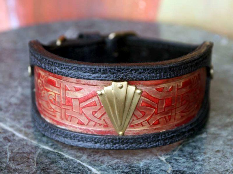 Sighthound leather collar Karnak by Workshop Sauri