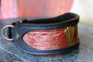 Sighthound leather collar handmade by Workshop Sauri