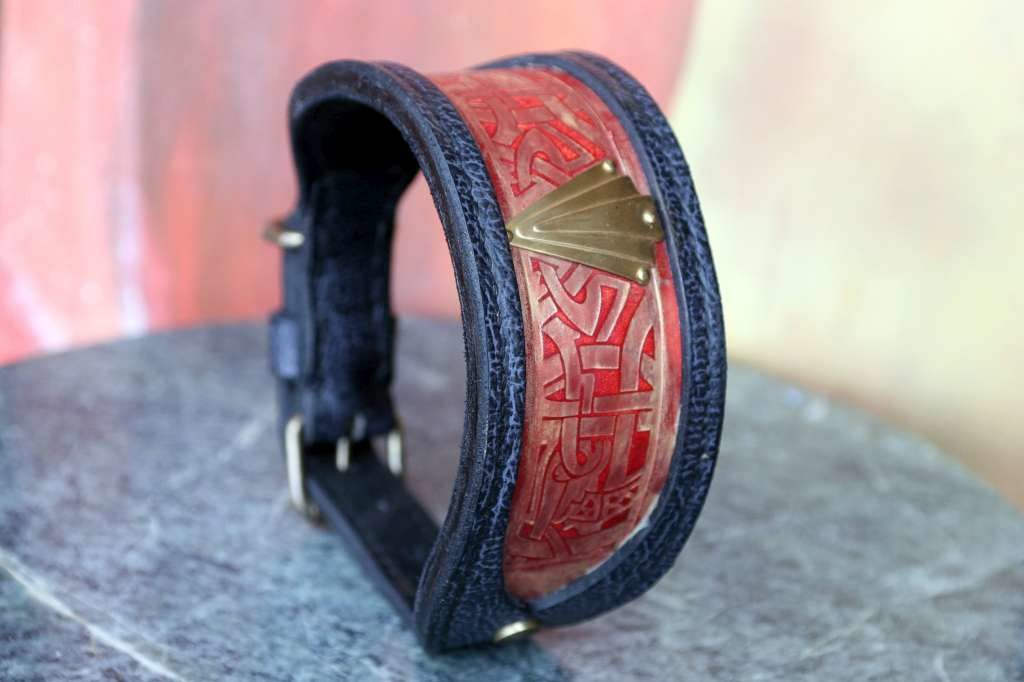 Sighthound leather collar handmade by Workshop Sauri