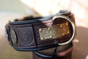 Custom embellished brown leather dog collar by Workshop Sauri