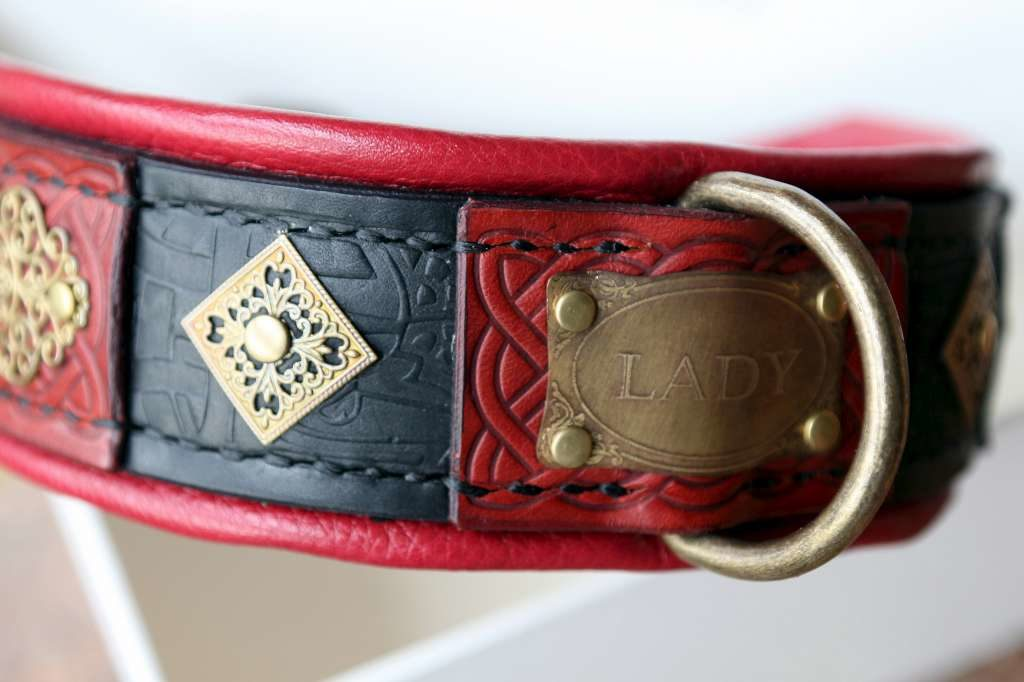Luxury leather dog collar Katanga handmade by Workshop Sauri