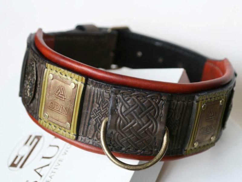 Custom engraved big dog collar Odin by Workshop Sauri