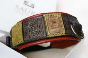 Custom engraved big dog collar handmade by Workshop Sauri