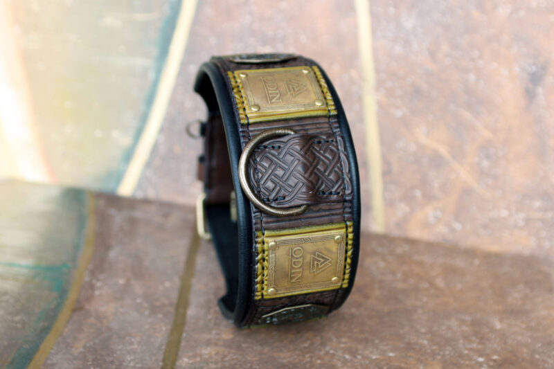 Odin custom engraved big dog collar with black leather padding by Workshop Sauri