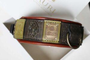 Odin custom engraved big dog collar handmade by Workshop Sauri