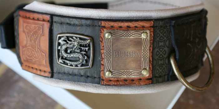Bubba personalized dog collar designed by Workshop Sauri