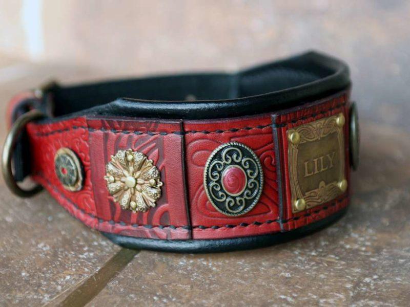 Byzantine Afghan hound leather collar by Workshop Sauri