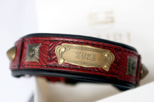 Leather dog collar with name RED TERRA by Workshop Sauri