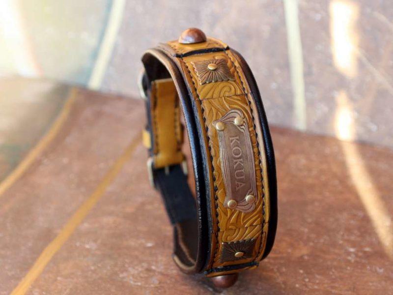 Padded leather dog collar Terra designed by Workshop Sauri