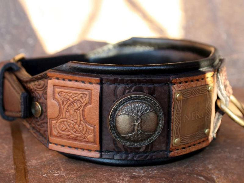 Personalized dog collar with black leather cushion by Workshop Sauri
