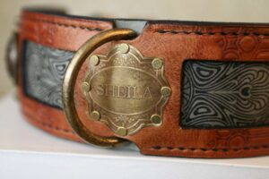 Big dog collar with vintage nameplate embellishments by Workshop Sauri