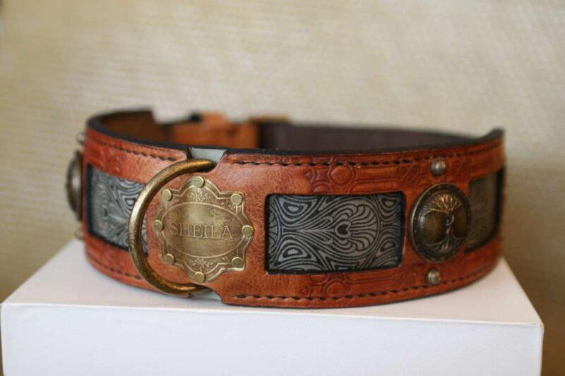 Big dog collar with vintage nameplate by Workshop Sauri