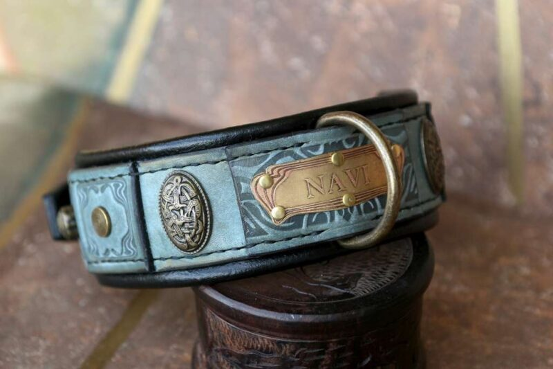 Green leather dog collar TEUTONIC by Workshop Sauri