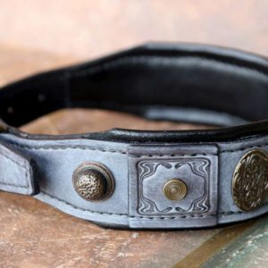 Grey leather dog collar with black cushion by Workshop Sauri