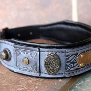 Personalized grey leather dog collar by Workshop Sauri