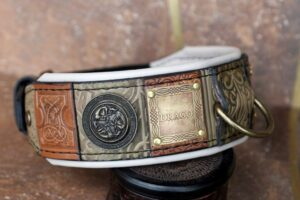 Olive green personalized leather dog collar by Workshop Sauri