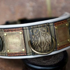Personalized green leather dog collar by Workshop Sauri