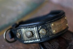 Black leather dog collar ROARK by Workshop Sauri