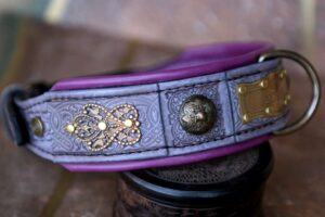 Elegant personalized dog collar ATHENA by Workshop Sauri