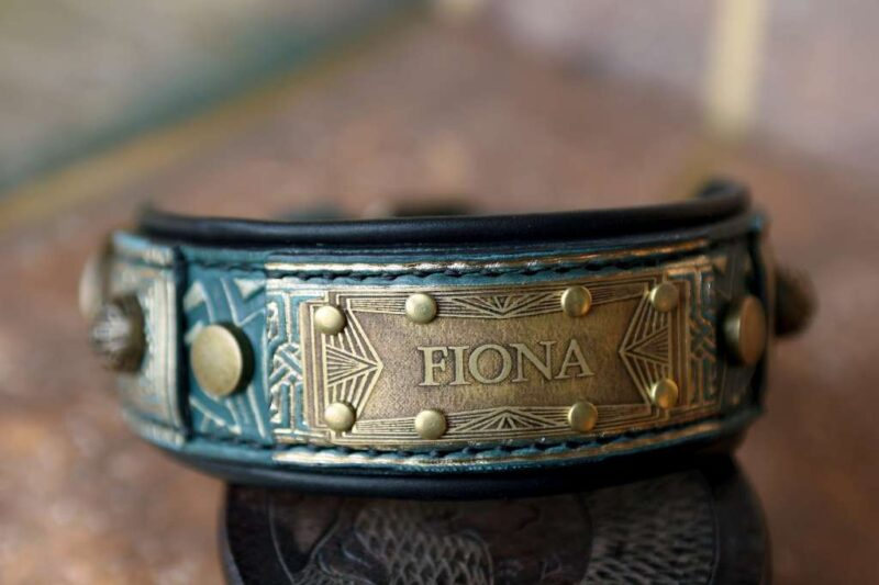 Green dog collar with art deco nameplate by Workshop Sauri