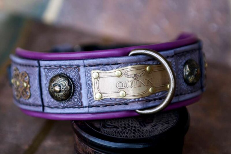 Personalized purple dog collar by Workshop Sauri