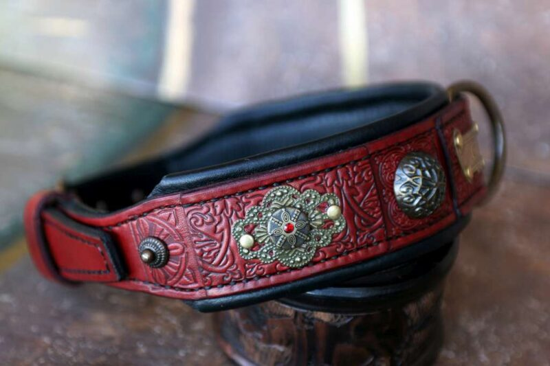 Personalized red leather dog collar with rhinestones CHANDI by Workshop Sauri