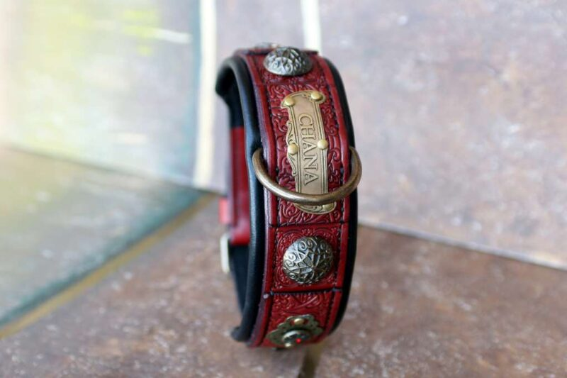 Rhinestone red leather dog collar CHANDI by Workshop Sauri