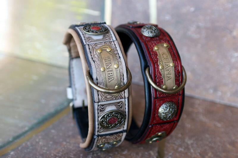 Red and tan leather dog collar SCYTHIA by Workshop Sauri