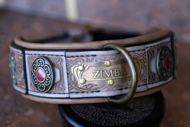 Tan leather dog collar with nameplate SCYTHIA by Workshop Sauri