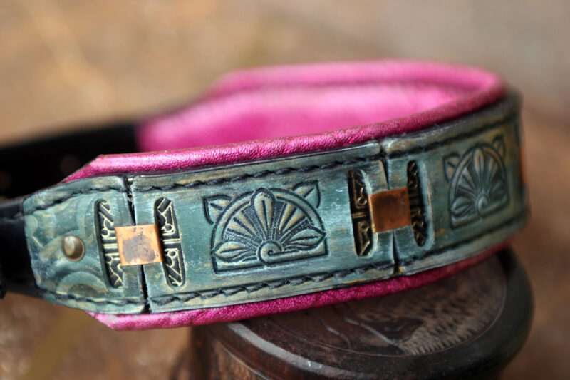Floral pink padded leather dog collar by Workshop Sauri