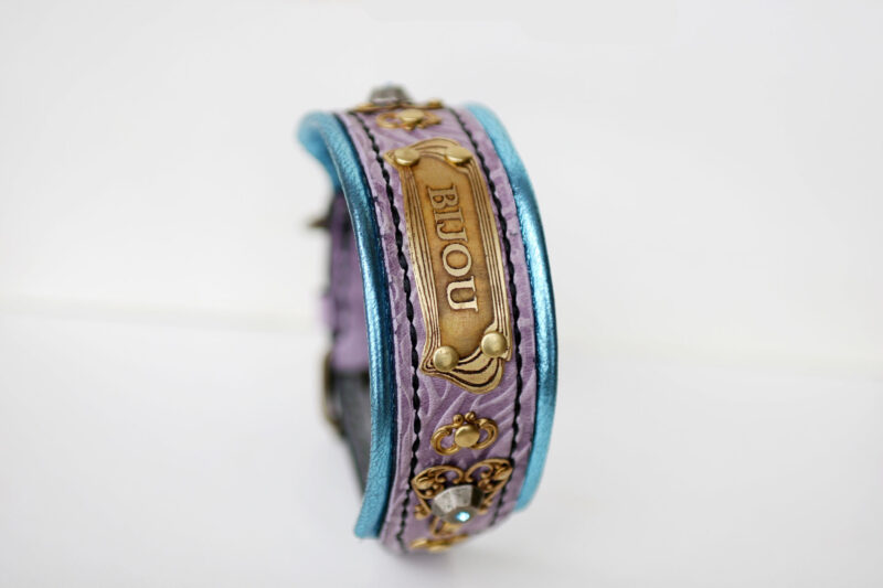 Bling dog collar with nameplate Rococo by Workshop Sauri