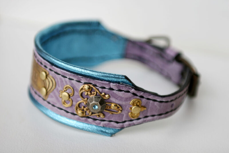 Turquoise lilac bling dog collar Rococo by Workshop Sauri