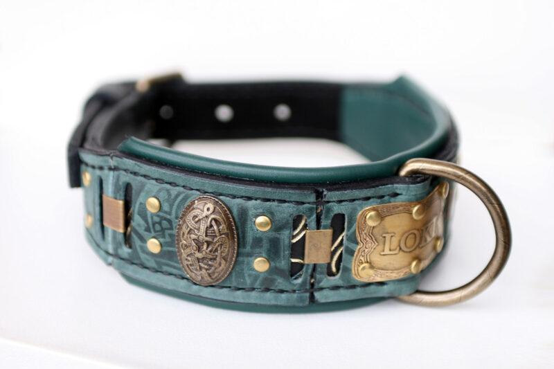 Viking dog collar with nameplate LOKI by Workshop Sauri