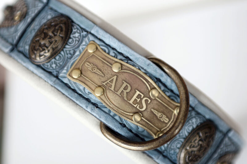 Baby blue leather dog collar by Workshop Sauri