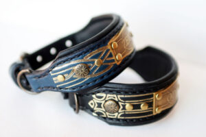 Personalized leather dog collars NUIT by Workshop Sauri